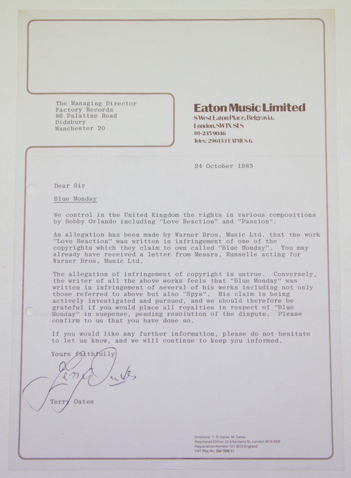 New order bobby orlando cerysmatic factory transcript of original letter to factory records concerning copyright issues around blue monday by new order spiritdancerdesigns Gallery