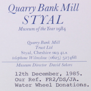 FAC 148 Styal water wheel bucket sponsorship