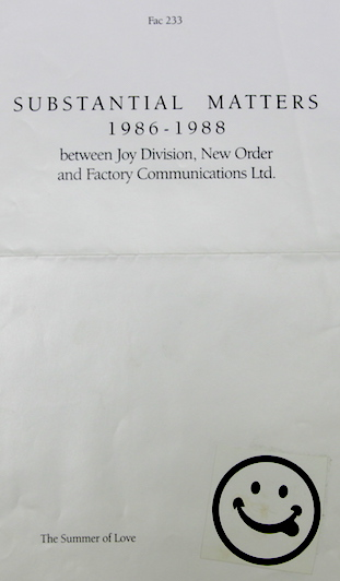 FAC 233 Substantial Matters between Joy Division, New Order and Factory Communications Ltd