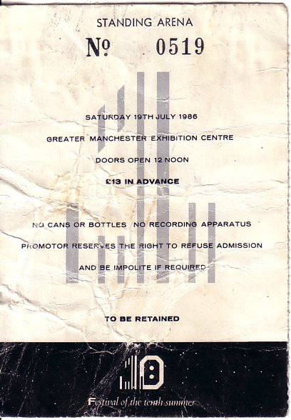 19 Jul 1986, FAC 151 Festival of the Tenth Summer, G-MEX Centre, Manchester - ACR Gigography