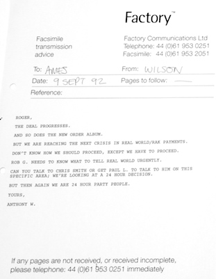 Text of fax from Tony Wilson to Roger Ames (managing director of London Records) on 9 September 1992