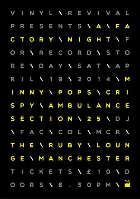 A Factory Night for Record Store Day, Ruby Lounge, Manchester, 19 April 2014; flyer
