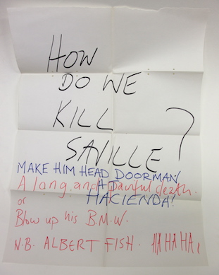 HOW DO WE KILL SAVILLE? - flipchart sheet bearing intriguing question about Peter Saville