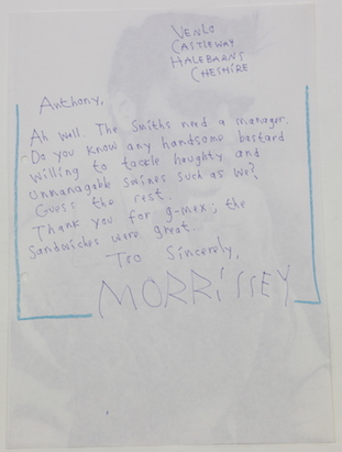 Undated letter from Morrissey to Tony Wilson