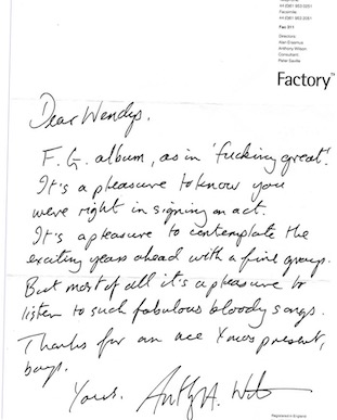 The Wendys - The F.G. Album - letter from Anthony H Wilson to The Wendys about the then upcoming release of Fact 285 Gobbledygook
