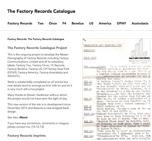 The Factory Records Catalogue