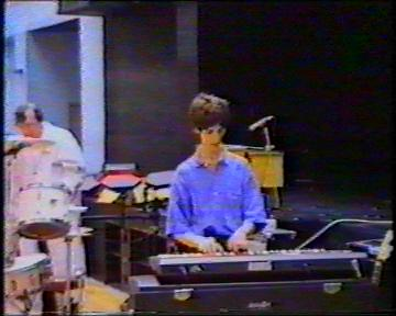 The Durutti Column in rehearsal at FAC 51 The Hacienda on 16 August 1987; (l-r) Bruce Mitchell, Vini Reilly