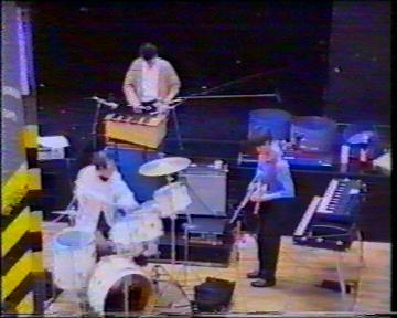 The Durutti Column in rehearsal at FAC 51 The Hacienda on 16 August 1987; (from the balcony) (l-r) Bruce Mitchell, John Metcalfe, Vini Reilly