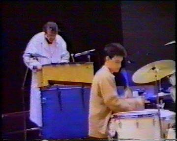 The Durutti Column in rehearsal at FAC 51 The Hacienda on 16 August 1987; Bruce Mitchell on xylophone, John Metcalfe on drums