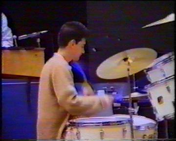 The Durutti Column in rehearsal at FAC 51 The Hacienda on 16 August 1987; John Metcalfe on drums