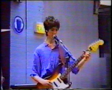 The Durutti Column in rehearsal at FAC 51 The Hacienda on 16 August 1987; Vini Reilly on guitar and singing