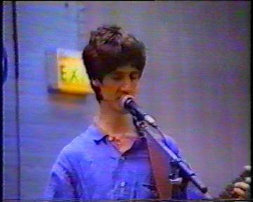 The Durutti Column in rehearsal at FAC 51 The Hacienda on 16 August 1987; Vini Reilly singing