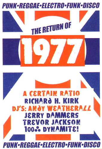 Back of Soul Jazz Records flyer for 'The Return of 1977' where ACR played live at Electrowerkz, Islington, London on Friday 29 March 2002