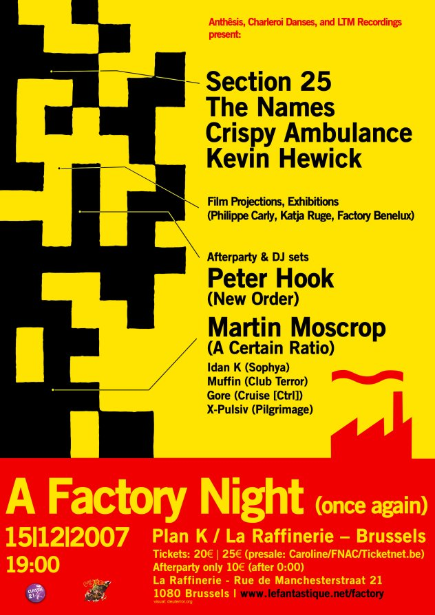 A Factory Night (Once Again), Plan K, Brussels, 15 December 2007; flyer