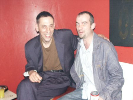 A Certain Ratio live at The Band On The Wall, 3 April 2004 - Jez Kerr and Robin (ex-ACR manager) backstage