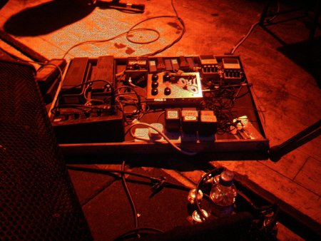 A Certain Ratio live at The Band On The Wall, 3 April 2004 - Martin Moscrop's box of effects pedals