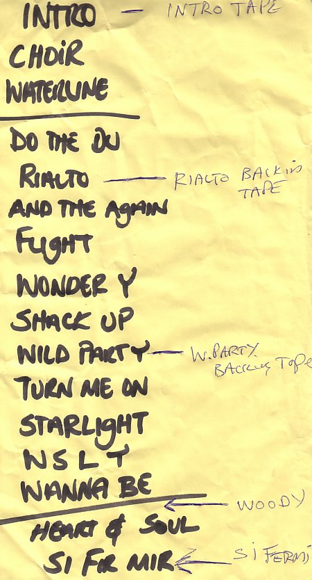A Certain Ratio live at The Band On The Wall, 3 April 2004 - Setlist with annotations
