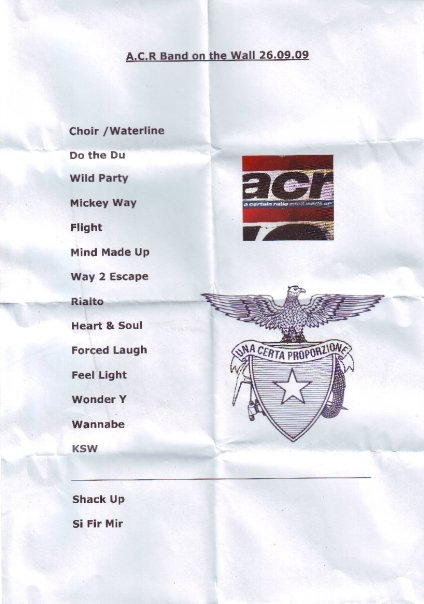 A Certain Ratio live: Band On The Wall, Manchester, 26 Sep 2009; setlist