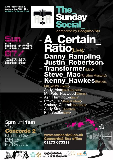 A Certain Ratio live: Brighton Concorde 2, 7 Mar 2010; flyer