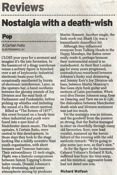 Daily Telegraph review of ACR live at Electrowerkz, Islington, London on Friday 29 March 2002
