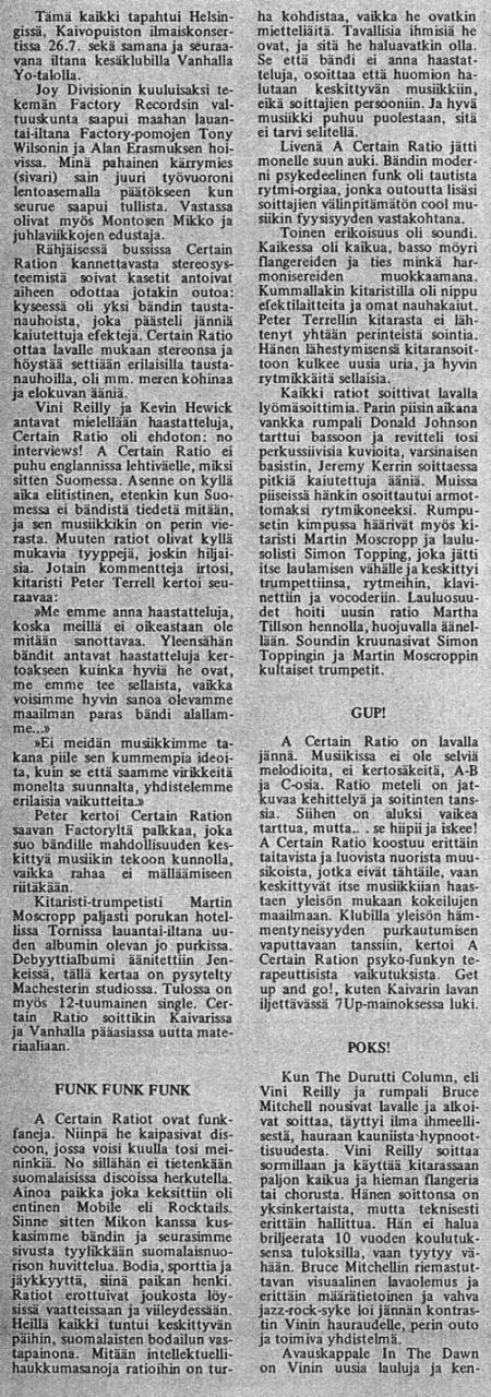 The Durutti Column live at Kaivopuisto Park, Helsinki, 24 July 1981; review in Finnish