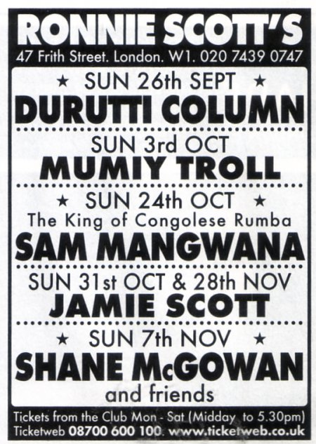 The Durutti Column - Ronnie Scott's, London, 26 September 2004; advert in Time Out August 4-11 2004