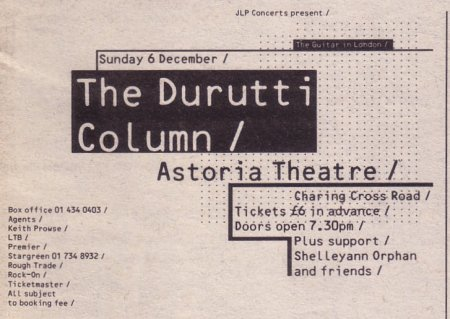 The Durutti Column - Astoria Theatre, London, Sunday 6 December 1987; advert for gig in NME 5 December 1987
