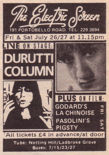 The Durutti Column - Electric Screen, London, Friday and Saturday 26/27 July 1985; advert for gig in NME 27 July 1985