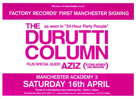 The Durutti Column - Manchester Academy 3 - 16 April 2005; flyer