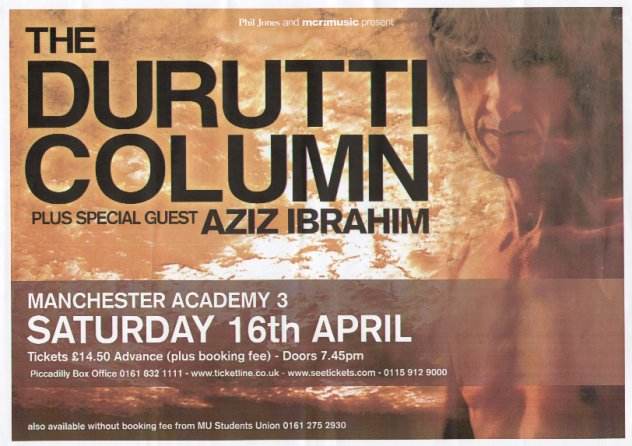 The Durutti Column - Manchester Academy 3 - 16 April 2005; poster