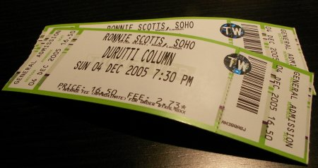 The Durutti Column - Ronnie Scott's, London, 4 December 2005; ticket detail