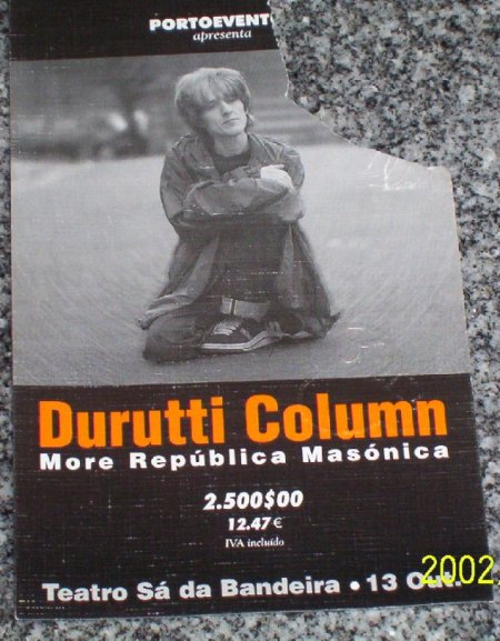 Detail of ticket for The Durutti Column live at Teatro Sa da Bandeira, Oporto, Portugal, 13 October 2001