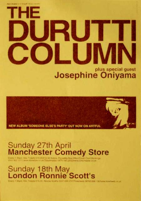 Flyer for The Durutti Column live at Manchester Comedy Store, Sunday 27th April and Ronnie Scott's, London, Sunday 18 May