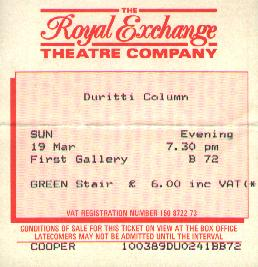 ticket for Royal Exchange concert