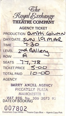 Ticket for The Durutti Column Royal Exchange concert [2 of 2]