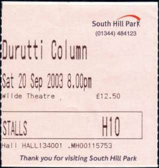 Durutti Column live at South Hill Park, Bracknell, 