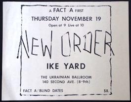 FA1 New Order/Ike Yard Gig - Ukrainian National Home