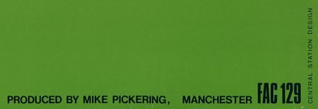 Happy Mondays - FAC 129 Forty-Five EP; back cover detail [2] showing catalogue number