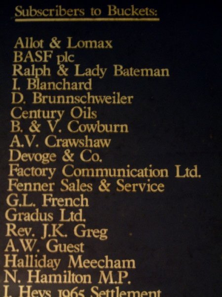 FAC 148 Quarry Bank Mill water wheel bucket; the list of sponsors (detail)