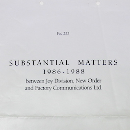 FAC 233 Substantial matters 1986-1988 New Order/Joy Division Accounts