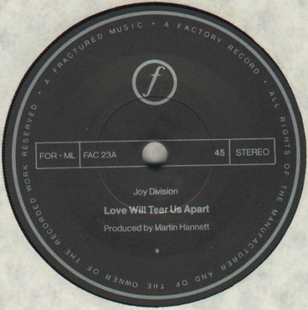 FAC 23 Love Will Tear Us Apart; label detail