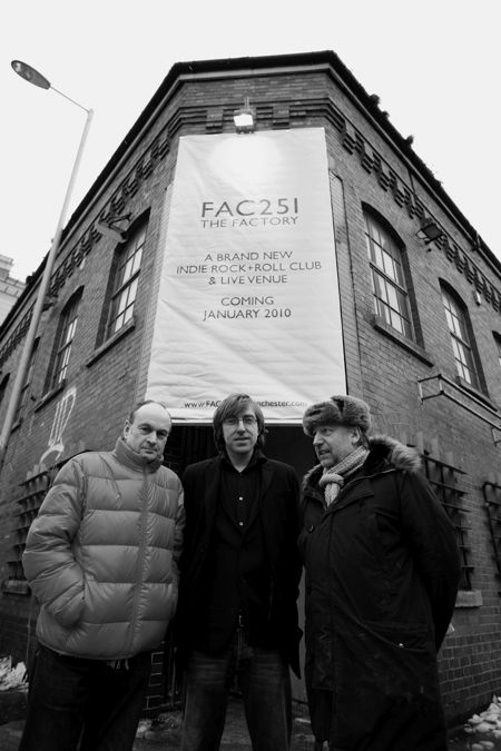 Ben Kelly, Aaron Mellor and Peter Hook outside FAC 251 The Factory; [photo credit: Kevin Cummins]