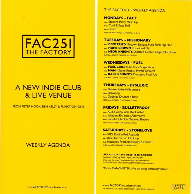 FAC 251 The Factory; details of the line-up