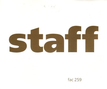 FAC 259 Staff party pass; front cover