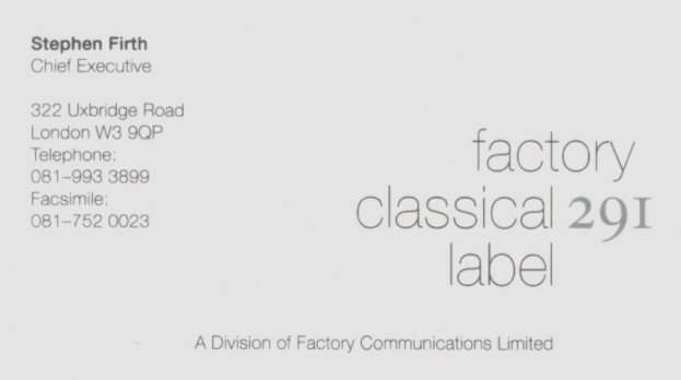 FAC 291 Factory Classical business card