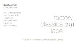 Factory Records: BRETT WICKENS
