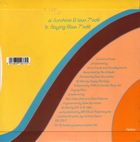 FAC 372 Sunshine and Love; 7-inch single back cover