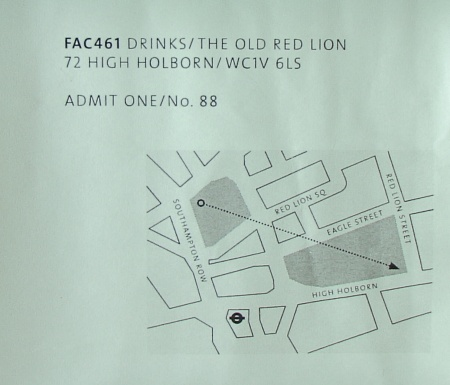 FAC 461 Factory Records: The Complete Graphic Album; FAC 461 drinks ticket