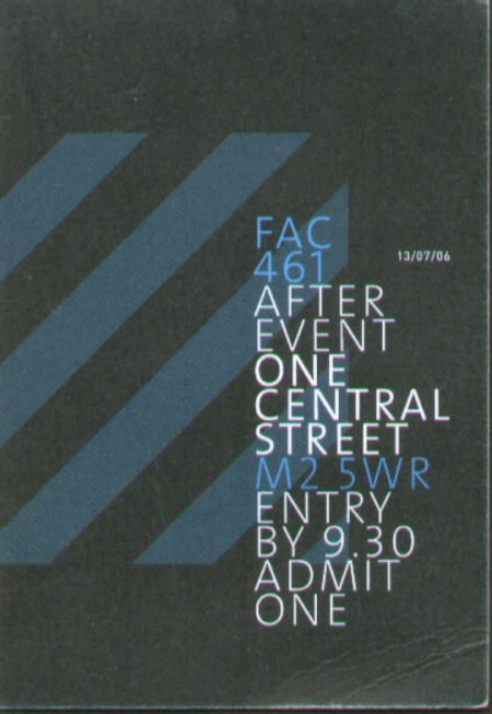 FAC 461 Factory Records: The Complete Graphic Album; ticket for drinks at One Central after the event (front)