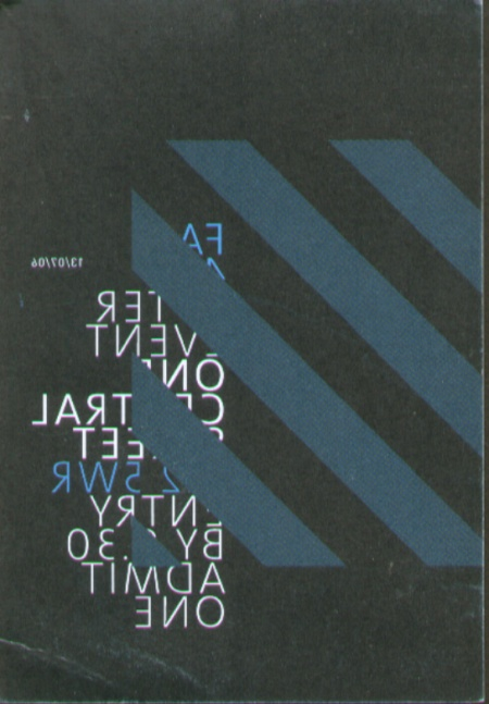 FAC 461 Factory Records: The Complete Graphic Album; ticket for drinks at One Central after the event (back)